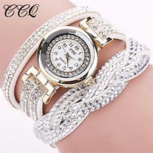 【送料無料】fashion casual quartz women rhinestone watch braided leather bracelet watch gift