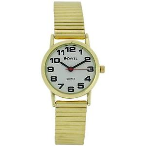 【送料無料】ravel ladies gold stainless steel soft expanding bracelet strap watch r0208012