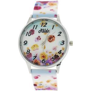 【送料無料】relda ladies analogue summer flowers silicone colourful strap watch rel100