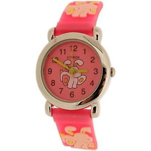 【送料無料】citron analogue kidsgirls bunny rabbit design pink silicone strap watch kid012