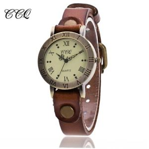 【送料無料】ccq vintage cow leather bracelet watch women wristwatch casual luxury quartz wat