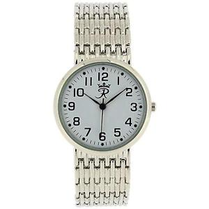 【送料無料】realm gents round quartz analogue silver tone mens bracelet strap watch rb24g