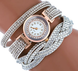 【送料無料】uk elegant womens crystals rose gold white quartz dress fashion watch felt strap