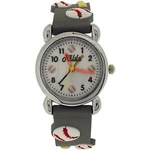 【送料無料】relda analogue children boys 3d baseball design grey silicone strap watch rel85
