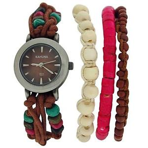 【送料無料】kahuna ladies brown string bead bracelet watch toggle pull closure aklf00011l