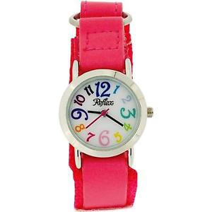【送料無料】reflex girls analogue hot pink easy fasten fabric strap watch kid0072