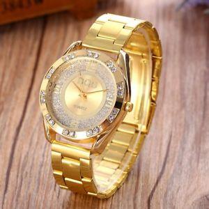 【送料無料】dqg women gold stainless steel quartz watch crystal luxury casual analog watc
