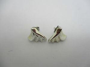 【送料無料】boucles doreilles en argent brillant massif tres elegantes a decor de palmettes