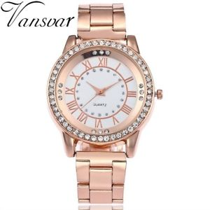【送料無料】vansvar rose gold watch luxury women dress rhinestone quartz watch casual wo