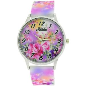 【送料無料】relda ladies analogue roses are pink silicone colourful strap watch rel102