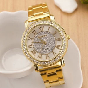 【送料無料】gold arenaceous rhinestone casual quartz watch women full steel watches luxur