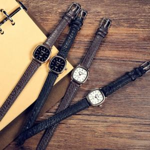 【送料無料】top women vintage leather watch ladies simple quartz wrist watches for small