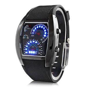 【送料無料】mens rpm blue led digital speedo quartz wrist watch, date time amp; week function