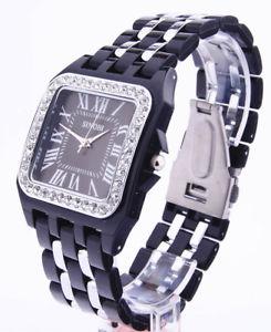 【送料無料】orologio sinobi santos con strass numeri romani quadrato acciaio anodizzato