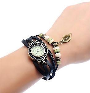 【送料無料】orologio al quarzo per donna con braccialetto in cuoio nero or10