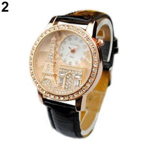 【送料無料】montre noire neuve bracelet cuir femme fantaisie tour eiffel