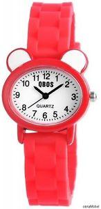 【送料無料】qbos analoge kinderuhr farbe rotwei quarzuhrwerk neu 036