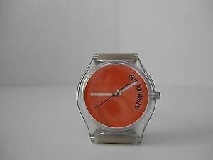 【送料無料】orologio uomo donna da polso quarzo quadrante arancio cinturino plastica