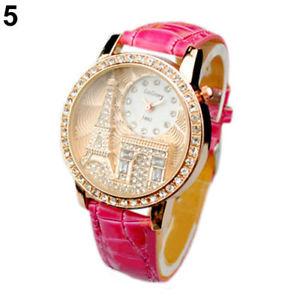 【送料無料】montre rose neuve bracelet cuir femme fantaisie tour eiffel