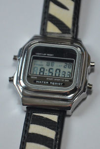 【送料無料】 rich gone broke rgb silver digital watch zebra brazzaville leather strap