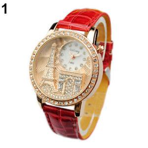 【送料無料】montre rouge neuve bracelet cuir femme fantaisie tour eiffel