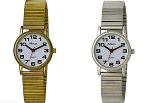 【送料無料】ravel ladies easy read watch with gold silver expanding strap 12 months warra