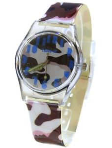 【送料無料】core designer girls analog brown army camouflage plastic strap watch