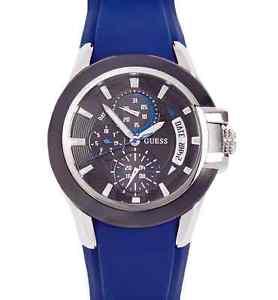 【送料無料】 guess men nitrogen sport blue silicone strap watch u10575g3 ss day date nwt