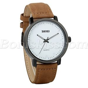 【送料無料】mens women stylish waterproof genuine leather strap precious quartz wrist watch