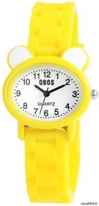 【送料無料】qbos analoge kinderuhr farbe gelbwei quarzuhrwerk neu 035