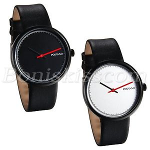 【送料無料】casual simple design mens fashion ultra thin leather quartz analog wrist watch