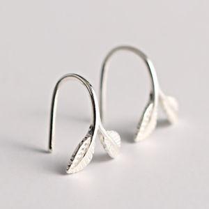 【送料無料】925 sterling silver earrings stylish silver leaf ear drop lovely earring gift fo