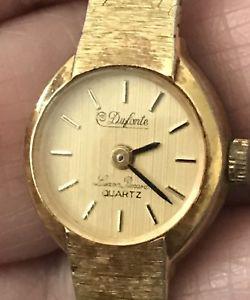 【送料無料】vintage dufonte lucien piccard ladies dress gold tone quartz watch