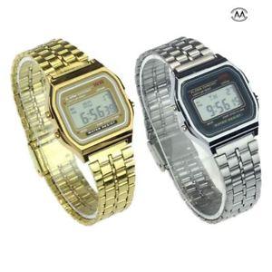 【送料無料】vintage womens men stainless steel digital alarm stopwatch wrist watch mens watc