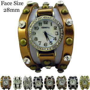 【送料無料】fancy leatherete cz stud fashion watch 28mm