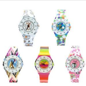 【送料無料】mini flowers analog women waterproof watch children wristwatches silicone strap