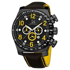 【送料無料】 mens joshua amp; sons js14yl oversized chronograph genuine leather watch