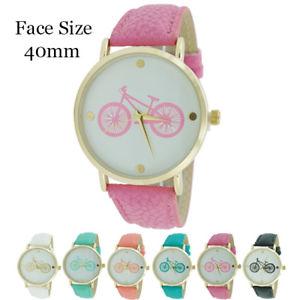 【送料無料】ladies cycle print round leather watch 40mm