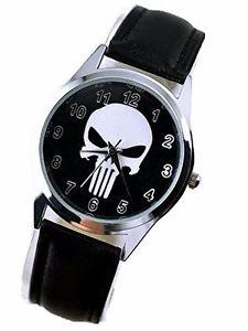 【送料無料】marvel comics the punisher series symbol leather watch