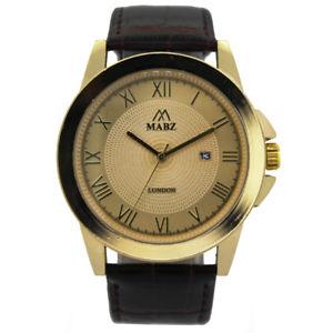 【送料無料】mabz mens browngold classic leather watch