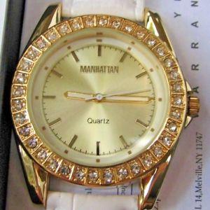 【送料無料】manhattan by croton ladies quartz watch with leather strap