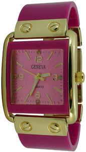 【送料無料】ladies geneva square acrylic bracelet fashion watch hot pink