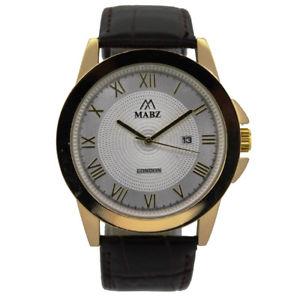 【送料無料】mabz mens browngoldsilver classic leather watch