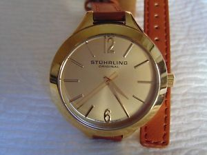 stuhrling original soiree deauville 23k gold fused stainless steel sport watch