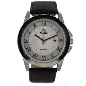 【送料無料】mabz mens brownsilverwhite classic leather watch