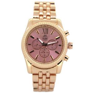 【送料無料】mabz london ladies classic rose gold stainless steel watch