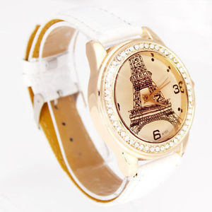 【送料無料】white fashion crystal tower womens girl hours dress quartz wrist watch, w8wt *