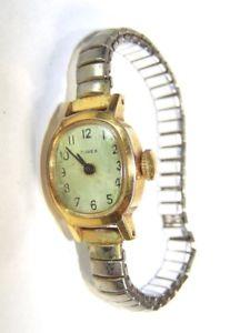 【送料無料】vintage running ladies goldtone dime wristwatch, movement marked 282, case uk