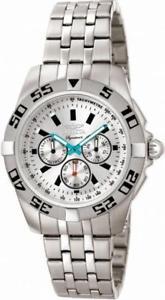 【送料無料】invicta signature ii 7302 mens round chronograph analog silver tone watch