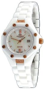 【送料無料】oniss on8200lrg womens swiss movement multifunction white ceramic watch